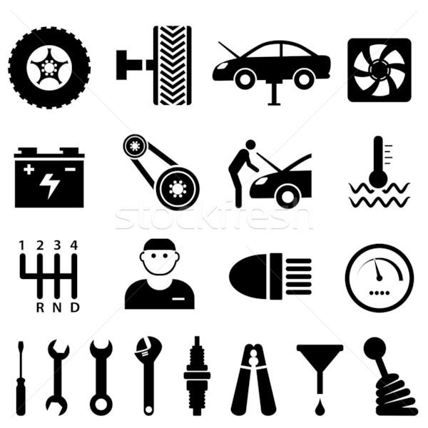 Autó karbantartás javítás ikonok ikon gyűjtemény terv Stock fotó © soleilc