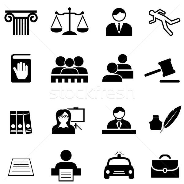 Igazság jogi törvény ügyvéd ikon gyűjtemény webes ikon Stock fotó © soleilc