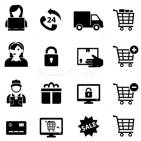 Compras on-line ecommerce ícones laptop telefone Foto stock © soleilc