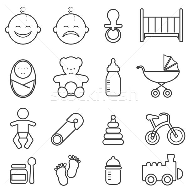Baby, infant, newborn and birth line icons Stock photo © soleilc