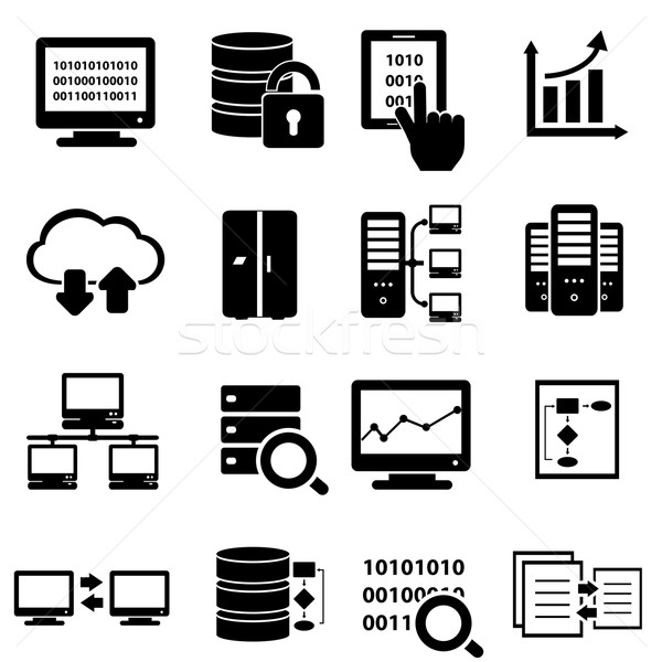 Big data icon set Stock photo © soleilc