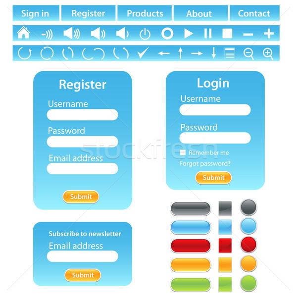 Conception de site web modèle bleu design cadre nouvelles Photo stock © soleilc