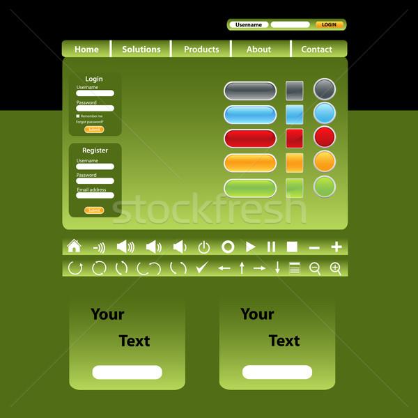 Conception de site web modèle vert design cadre nouvelles Photo stock © soleilc