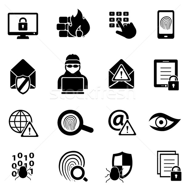 Cybersecurity, virus and computer security icons Stock photo © soleilc
