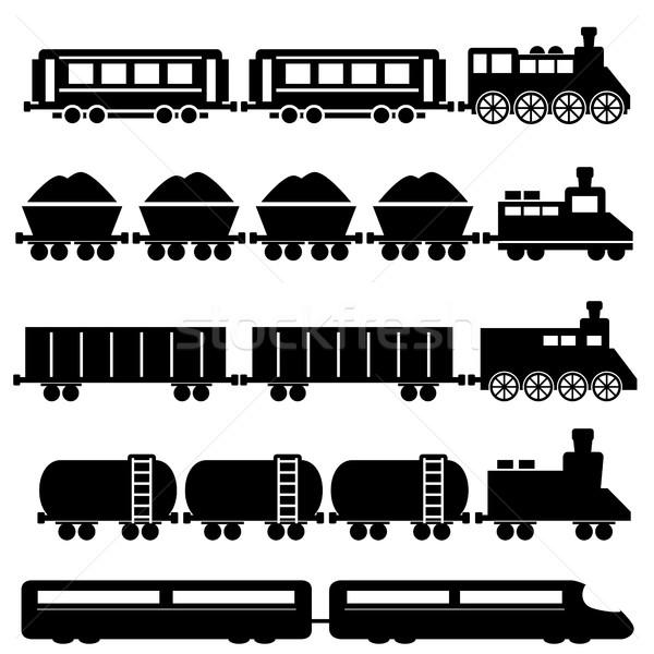 Tren ferrocarril metro viaje negro silueta Foto stock © soleilc