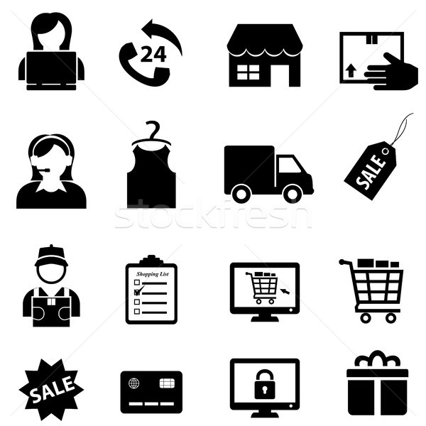 Shopping and online e-commerce icon set Stock photo © soleilc