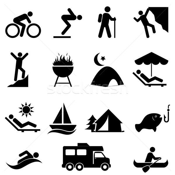 Outdoor leisure and recreation icons Stock photo © soleilc