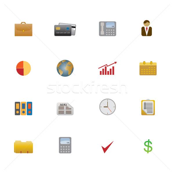 Business symbolen objecten telefoon wereldbol Stockfoto © soleilc