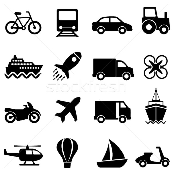Air, water and land transportation icon set Stock photo © soleilc