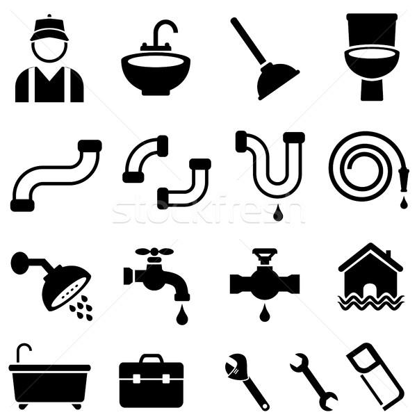 Cocina bano casa fontanería iconos Foto stock © soleilc