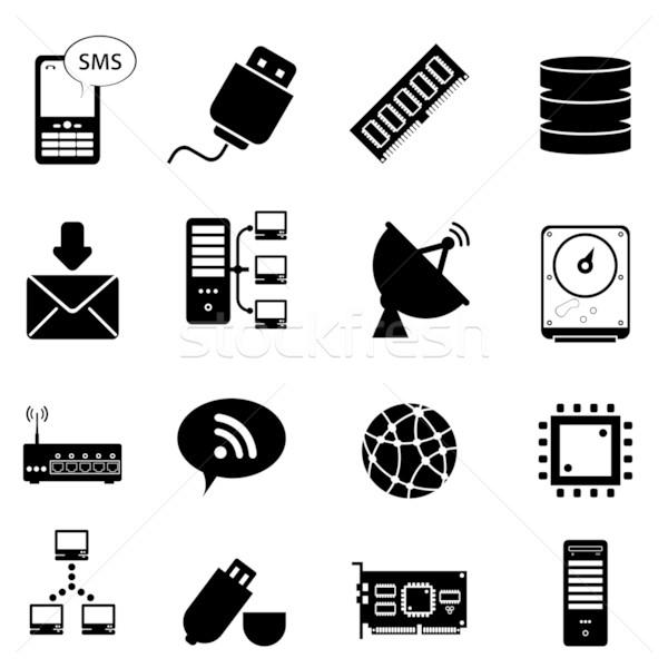 Komputera technologii ikona świecie monitor Zdjęcia stock © soleilc