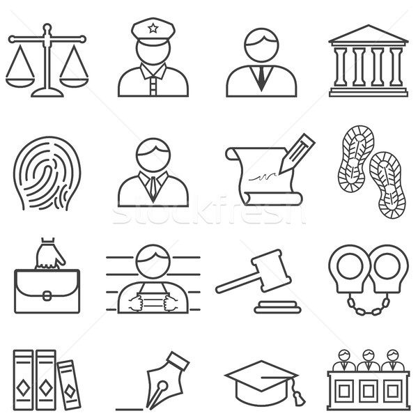 Justice, law, lawyer and court icon set Stock photo © soleilc