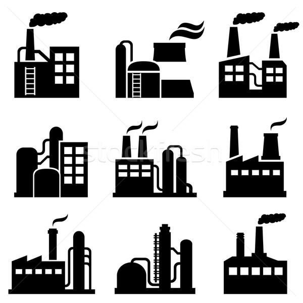 Industrial building, power plant and factory icons Stock photo © soleilc