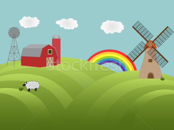Farmland with green hills Stock photo © soleilc