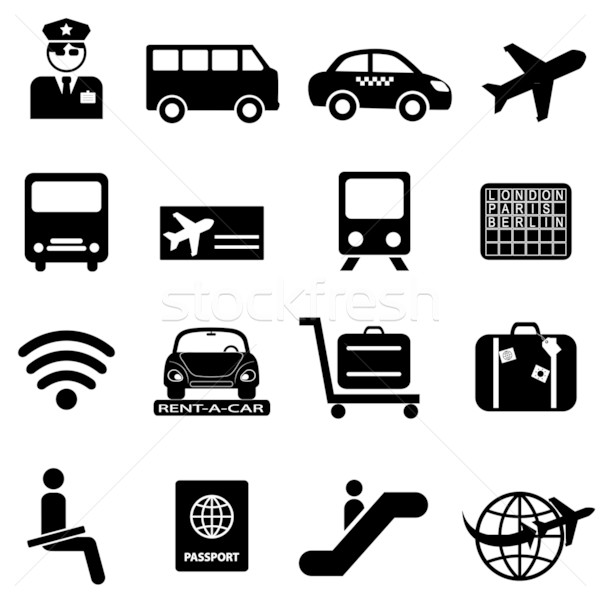 Airport and air travel icons Stock photo © soleilc