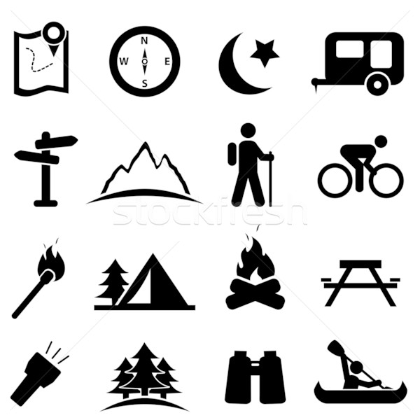 Camping icon set Stock photo © soleilc