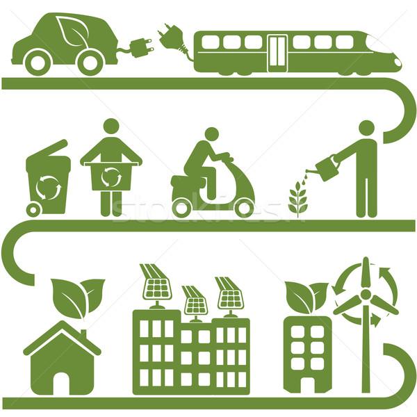 Чистая энергия зеленый среде человека энергии Сток-фото © soleilc