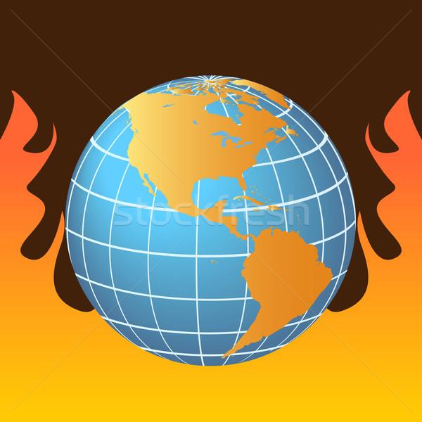 Opwarming van de aarde wereldbol vlammen brand vlam tekening Stockfoto © soleilc
