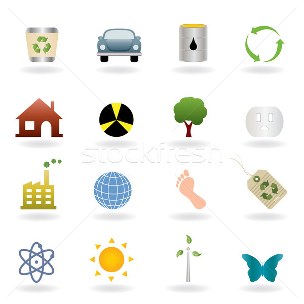 Ecology icon set Stock photo © soleilc