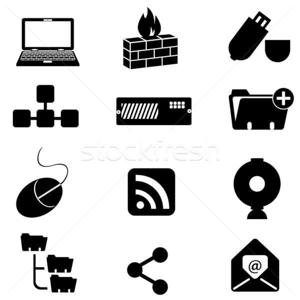 Komputera technologii ikona laptop myszą Zdjęcia stock © soleilc