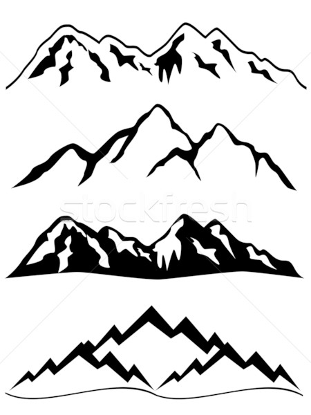 Berge Schnee Landschaft Winter Grafik Illustration Stock foto © soleilc