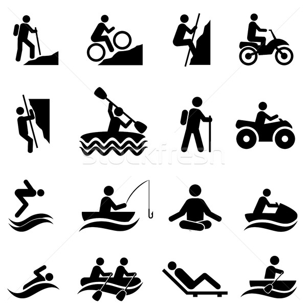 Leisure and recreational activities icons Stock photo © soleilc