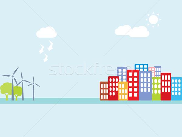 альтернатива Чистая энергия чистой дерево город Сток-фото © soleilc
