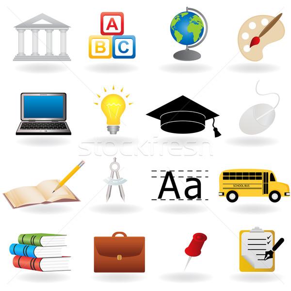 Escolas educação ícones livro laptop saco Foto stock © soleilc