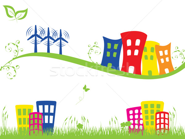 Green city with wind turbines Stock photo © soleilc