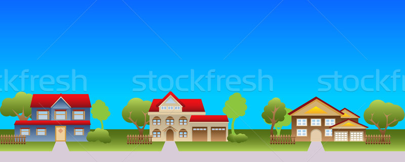 Suburban houses in neighborhood Stock photo © soleilc