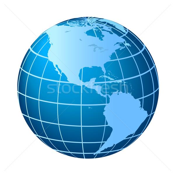 Norte globo azul desenho Foto stock © soleilc