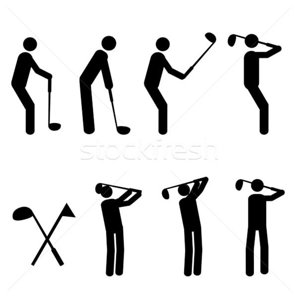 Golfing man silhouttes Stock photo © soleilc