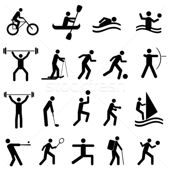 Stok fotoğraf: Spor · siluetleri · siyah · adam · golf