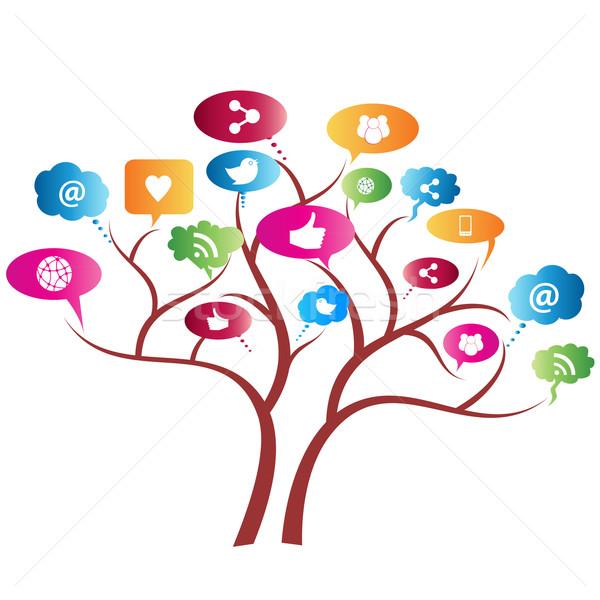 Rede social árvore símbolos negócio mundo tecnologia Foto stock © soleilc