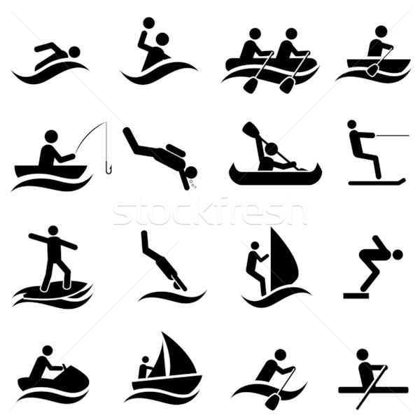 Water sports icon set Stock photo © soleilc