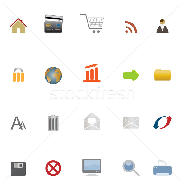 Internet web ecommerce iconen wereldbol home Stockfoto © soleilc