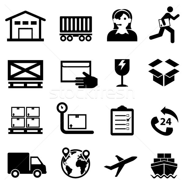 Shipping, delivery, distribution and warehouse web icon set Stock photo © soleilc