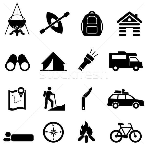 Leisure, camping and recreation icons Stock photo © soleilc