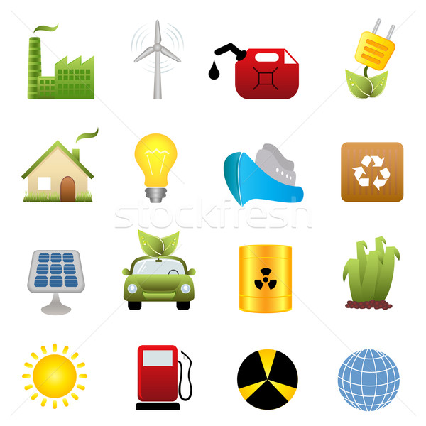 Clean energy icon set Stock photo © soleilc