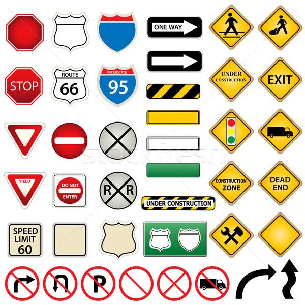 Carretera tráfico signos calle camión Foto stock © soleilc