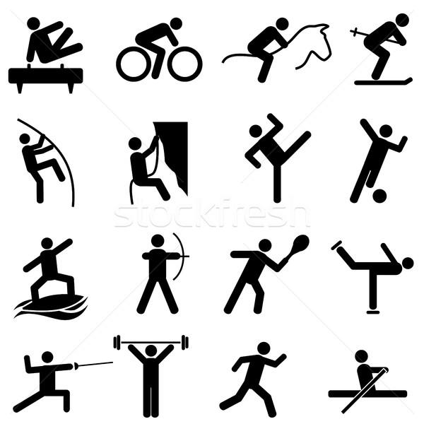 Sports and athletics icons Stock photo © soleilc