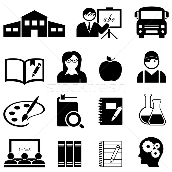 Learning, school and education icons Stock photo © soleilc