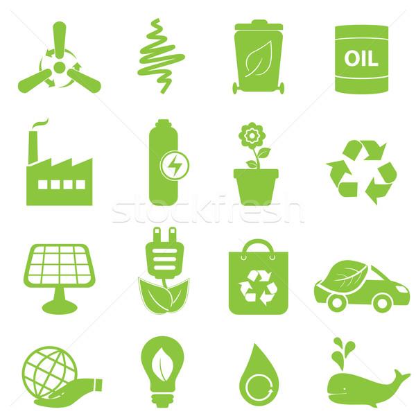 Eco geri dönüşüm temiz enerji simgeler çiçek Stok fotoğraf © soleilc