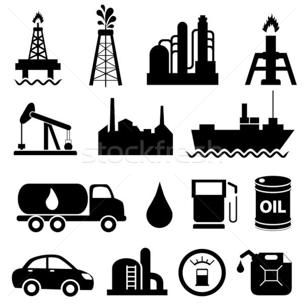 Olajipar ikon gyűjtemény olaj kőolaj felirat ipar Stock fotó © soleilc