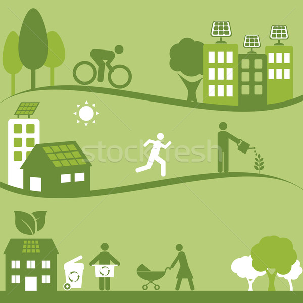 Green environment and solar panels Stock photo © soleilc