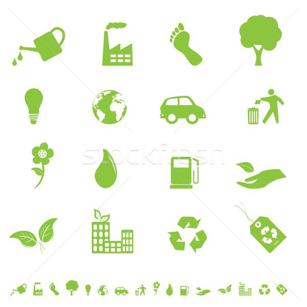 Milieu eco iconen borden symbolen bloem Stockfoto © soleilc