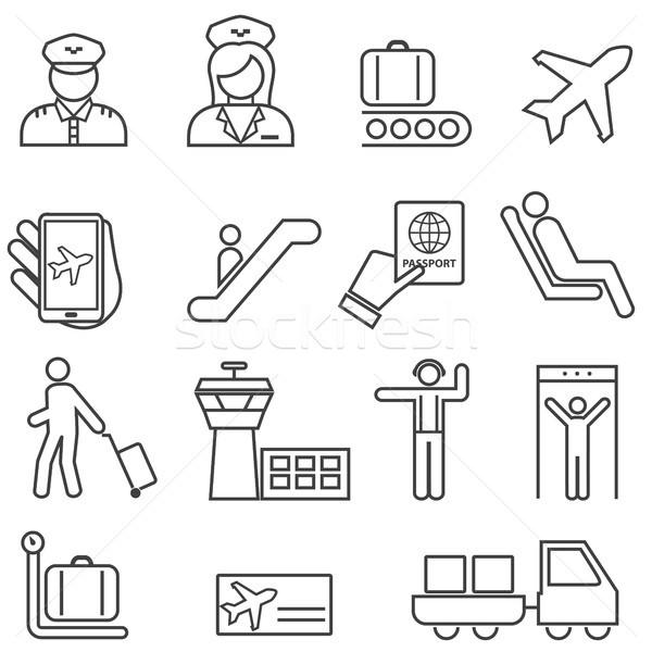 Lotniska lotnictwo line ikona internetowych Zdjęcia stock © soleilc
