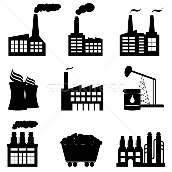 Factory, nuclear power plant and energy icons Stock photo © soleilc