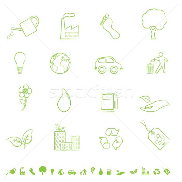 Groene eco symbolen schone milieu bloem Stockfoto © soleilc