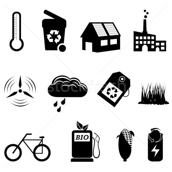 Recycle, eco and bio icons Stock photo © soleilc